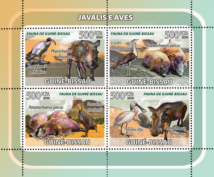 Boars, birds 4v - Issue of Guinée-Bissau postage stamps