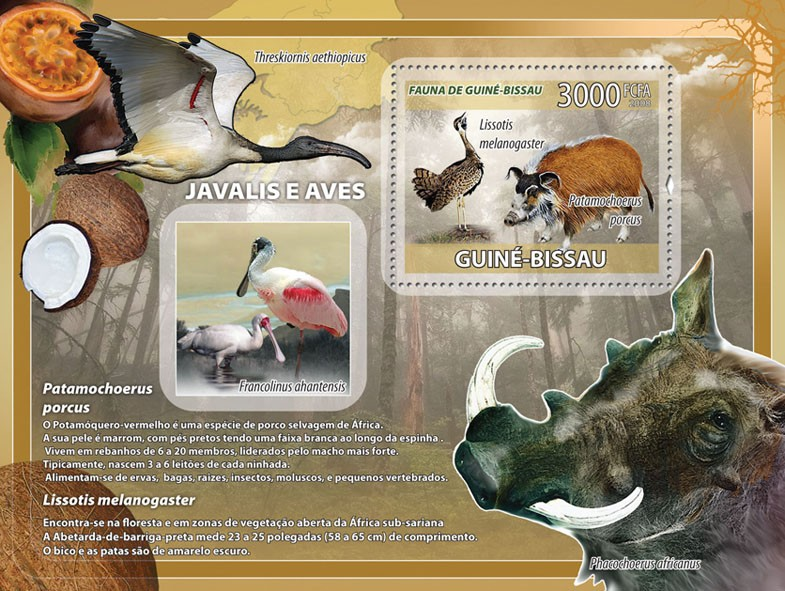 Boars, birds, fruits s/s - Issue of Guinée-Bissau postage stamps