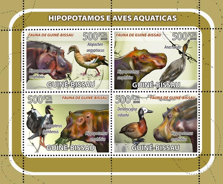 Hippos, birds 4v - Issue of Guinée-Bissau postage stamps