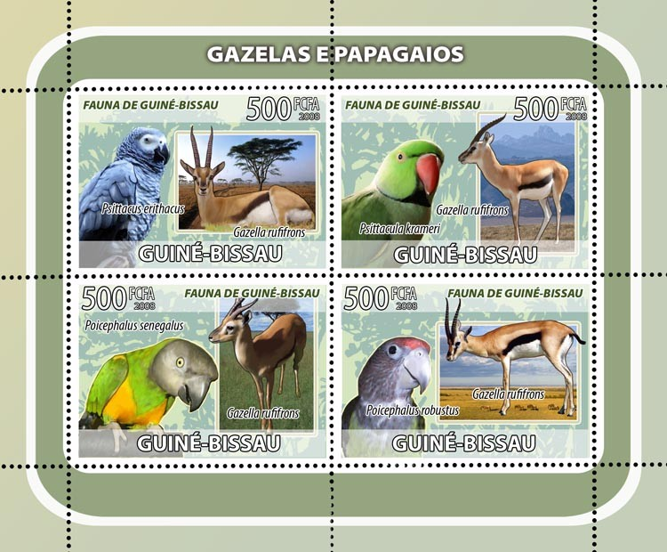 Gazelles, parrots 4v - Issue of Guinée-Bissau postage stamps