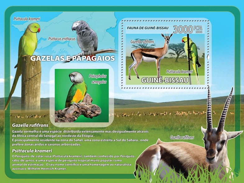 Gazelles, parrots s/s - Issue of Guinée-Bissau postage stamps