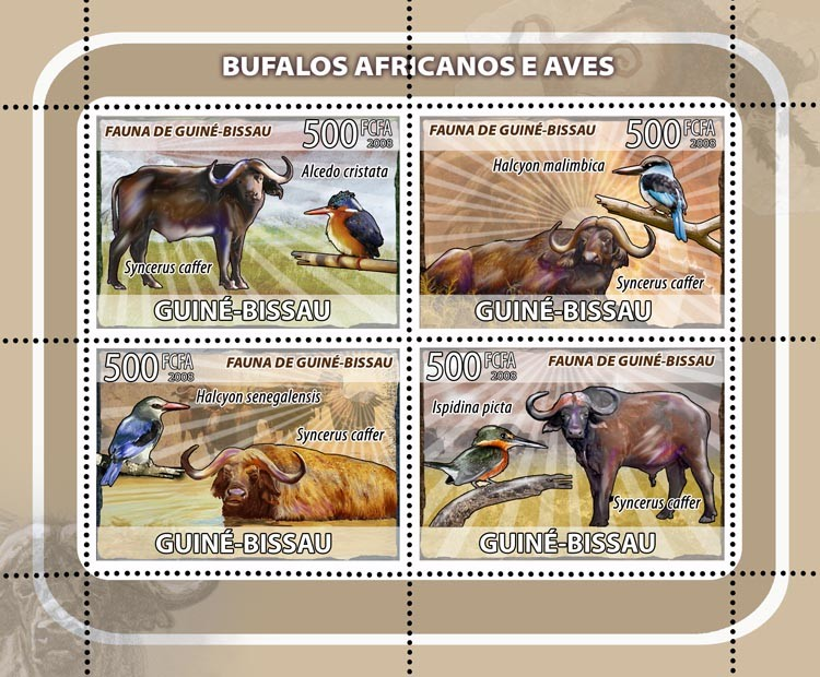 African buffalos, birds 4v - Issue of Guinée-Bissau postage stamps