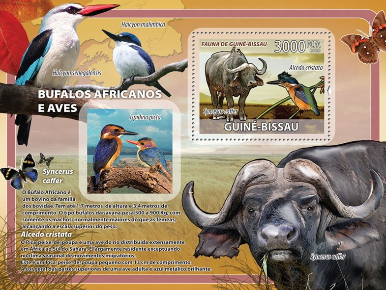 African buffalos, birds, butterflies s/s - Issue of Guinée-Bissau postage stamps