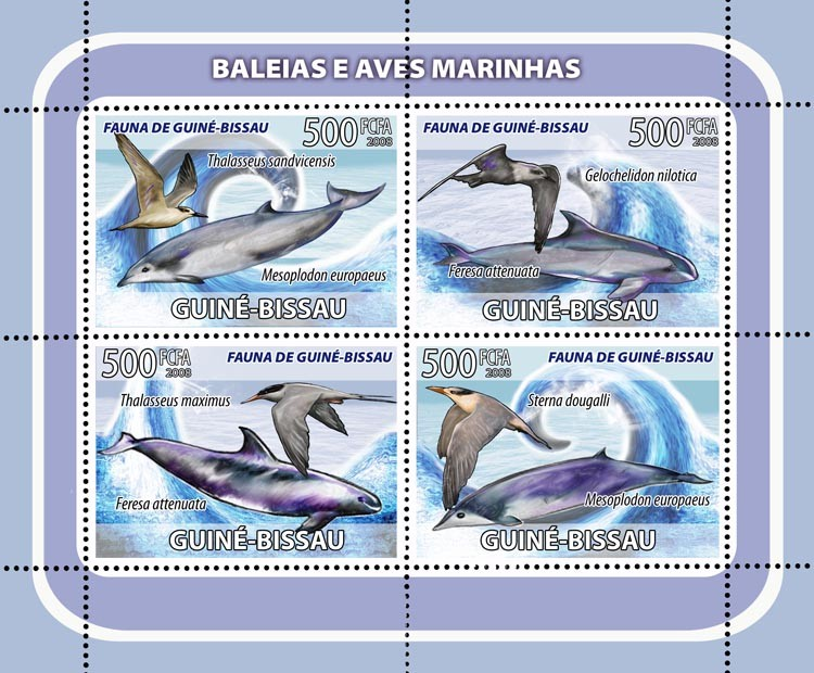 Whales, sea birds 4v - Issue of Guinée-Bissau postage stamps