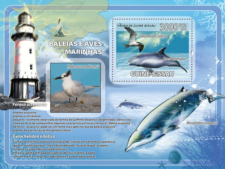 Whales, sea birds, lighthouses s/s - Issue of Guinée-Bissau postage stamps