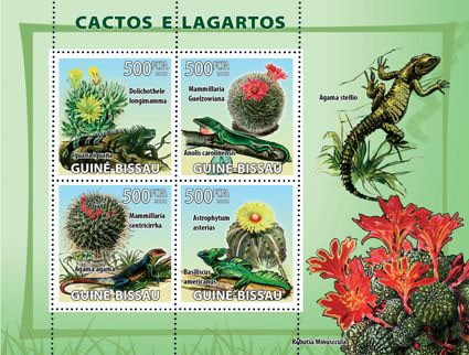 Cactus & lizards - Issue of Guinée-Bissau postage stamps