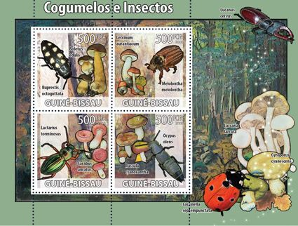 Mushrooms & insects - Issue of Guinée-Bissau postage stamps