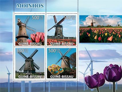 Windmills, tulips - Issue of Guinée-Bissau postage stamps