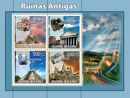 Antique ruins, minerals - Issue of Guinée-Bissau postage stamps
