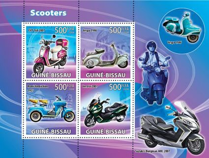 Scooters - Issue of Guinée-Bissau postage stamps