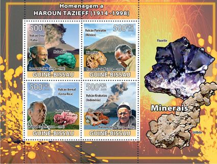 Haroun Tazief, volcanoes, minerals - Issue of Guinée-Bissau postage stamps