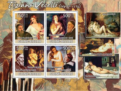 Paintings-nudes of Tiziano Vecelli - Issue of Guinée-Bissau postage stamps