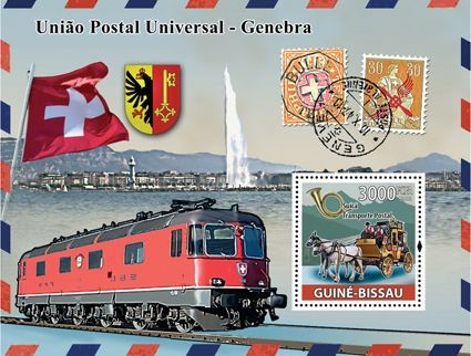 UPU, transports of Post (cars, train) - Issue of Guinée-Bissau postage stamps