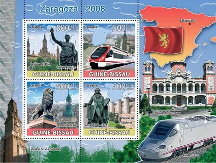 Saragossa Expo 2008, train - Issue of Guinée-Bissau postage stamps