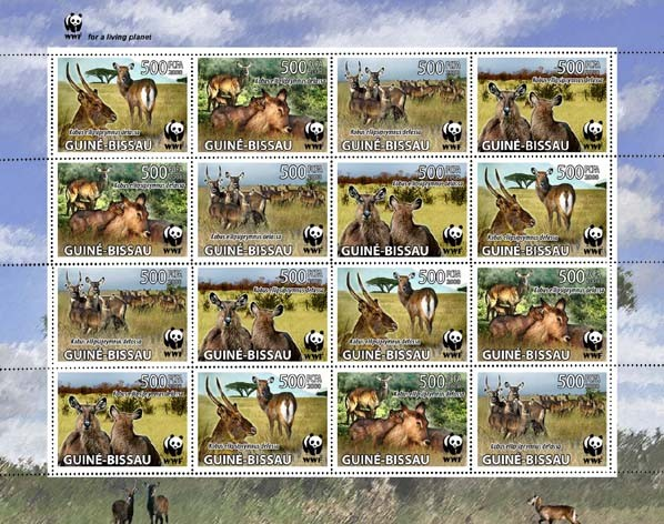WWF Sheet of 4 stes 16v x 500 FCFA - Issue of Guinée-Bissau postage stamps