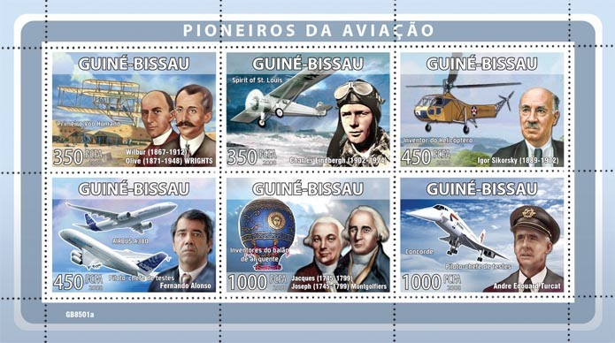 Pioneers of aviations (W. & O.Wrights, C.Lindbergh, I.Sikorsky, F.Alonso, J.& J. Montgolfiers, A.E. Turcat) - Issue of Guinée-Bissau postage stamps
