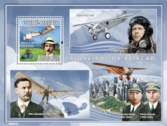 Pioneers of aviations  (A.S.Dumont, C.Lindbergh, S.Darius & S.Girenas) - Issue of Guinée-Bissau postage stamps