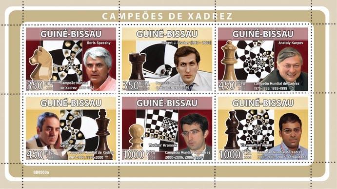 Chess Champions ( B.Spassky, R.J.Fischer, A.Karpov, G.Kasparov,V.Kramnik, V.Anand ) - Issue of Guinée-Bissau postage stamps