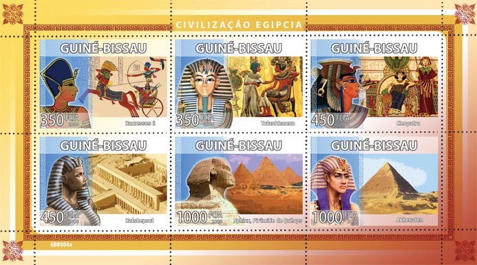 Civilization of Egypt - Issue of Guinée-Bissau postage stamps