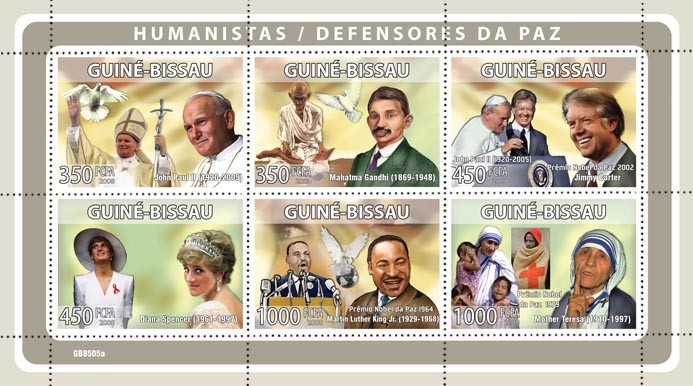 Humanists / Peace Defenders/Red Cross (J.P.Paul  II, M.Gandhi, J.Carter, Lady Diana, M.L.King, Mother Teresa) - Issue of Guinée-Bissau postage stamps