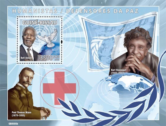 Humanists / Peace Defenders/Red Cross ( Kofi Anan, K.Vonnegut, P.T.Mann) - Issue of Guinée-Bissau postage stamps