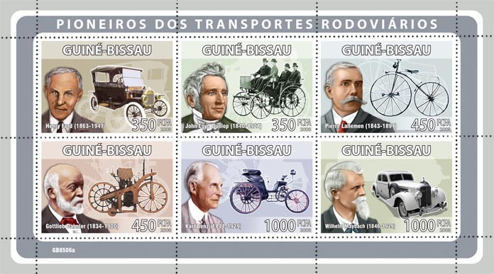 Pioneers of transport (H.Ford, J.L.Dunlop, P.Lalleman, G.Daimler, K.Benz, W.Maybach) - Issue of Guinée-Bissau postage stamps