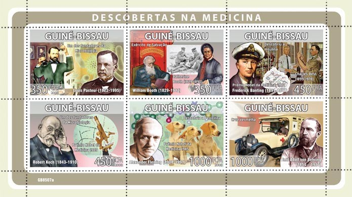 Descriptors of medicine, Red Cross (L.Pasteur, W.Booth, F.Banting, R.Koch, A.Fleming, E.Adolf von Berhring) - Issue of Guinée-Bissau postage stamps
