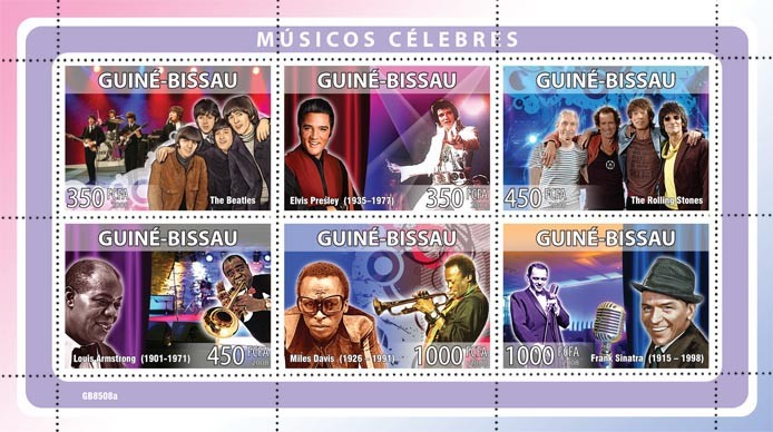 Celebrites of music (The Beatles, E. Presley, The Rolling Stones, L.Armstrong, M.Davis, F.Sinatra) - Issue of Guinée-Bissau postage stamps