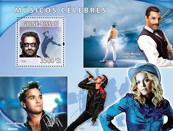 Celebrites of music (Bono, F.Mercury, Madonna, R.Williams) - Issue of Guinée-Bissau postage stamps