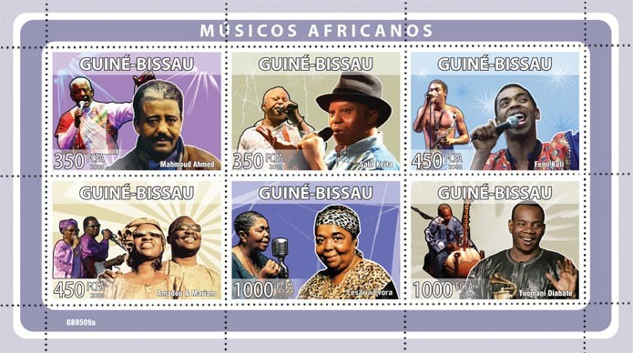 African musicians (M.Ahmed, S.Keita, F.Kuti, Amadou & Mariam, C.Evora, T.Diabate) - Issue of Guinée-Bissau postage stamps