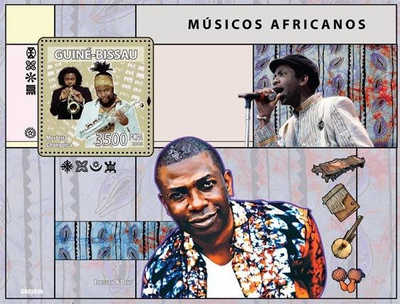 African musicians (Morfeira Chonguica, Y.N'Dour) - Issue of Guinée-Bissau postage stamps