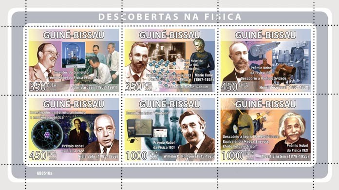 Descriptors of physic (J.Bardeen, M.Cuirie, H.Becquerel, N.Bohr, W.C.Rontgen, A.Enstein) - Issue of Guinée-Bissau postage stamps
