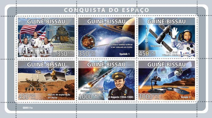 Space missions  (M.Collins, N.Armstrong, B.Aldrin, Y.Liwei, Y.Gagarin) - Issue of Guinée-Bissau postage stamps