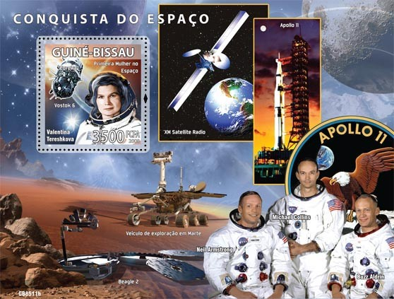 Space missions  (V.Tereshkova,M.Collins, N.Armstrong, B.Aldrin) - Issue of Guinée-Bissau postage stamps