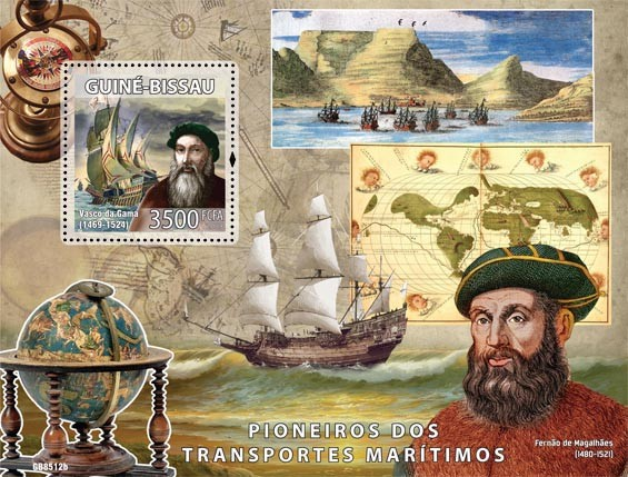 Pioneers of sea transport (Vasco de Gama, F. Magelanes) - Issue of Guinée-Bissau postage stamps