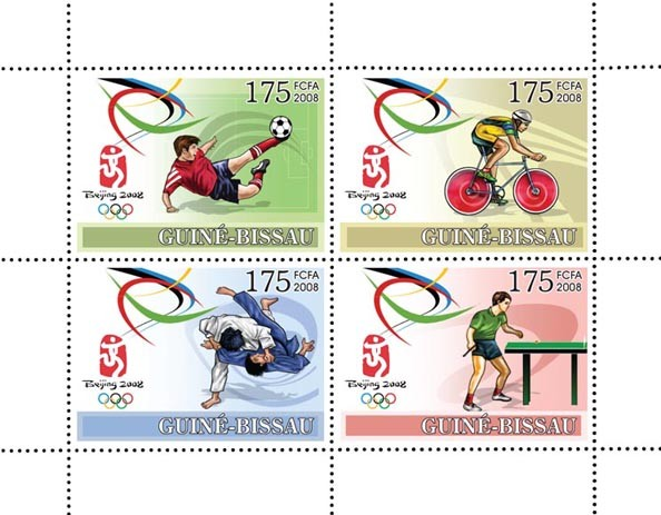 Olympic Games Peking 2008 (football, cycling, judo, ping pong) - Issue of Guinée-Bissau postage stamps