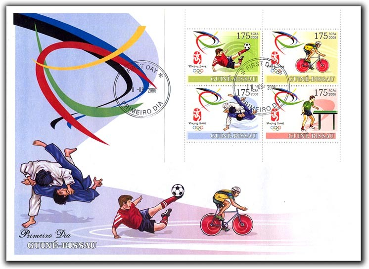 Olympic Games Peking 2008 (football, cycling, judo, ping pong) FDC - Issue of Guinée-Bissau postage stamps