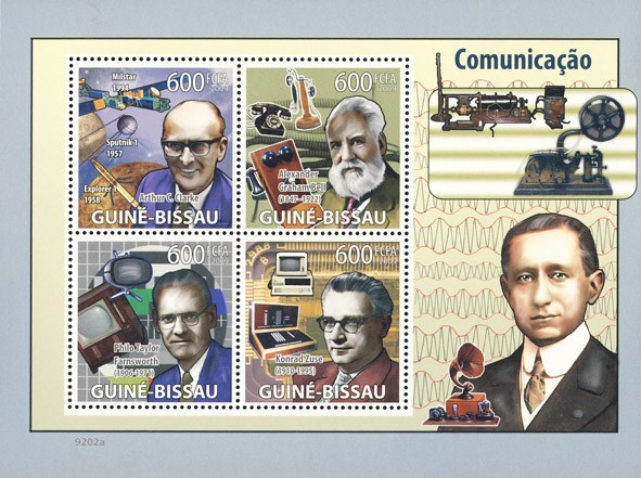 Communications (A.C.Clarke, A.G.Bell, P.T. Farnsworth, K.Zuse) - Issue of Guinée-Bissau postage stamps