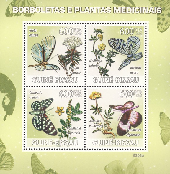 Butterflies & Medical plants - Issue of Guinée-Bissau postage stamps