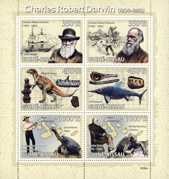 Charles Robert  Darwin 1809-1882 (Dinosaurs, Sail ship) - Issue of Guinée-Bissau postage stamps