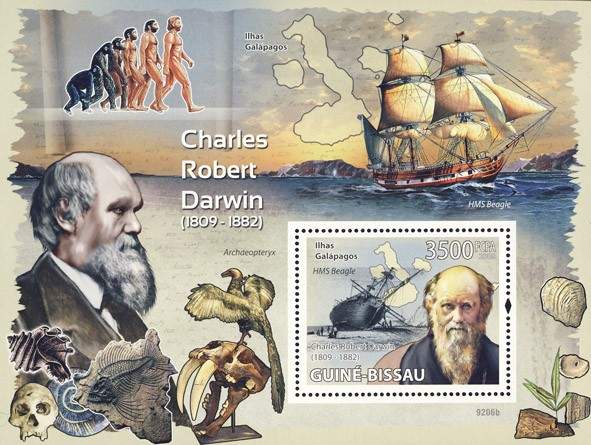 Charles Robert  Darwin 1809-1882 (Dinosaurs, Sail ships) - Issue of Guinée-Bissau postage stamps