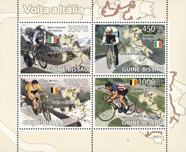 Cycling in Italy (M.Cipollini, F.Moser, E.Merckx, R. De Vlaeminck) - Issue of Guinée-Bissau postage stamps