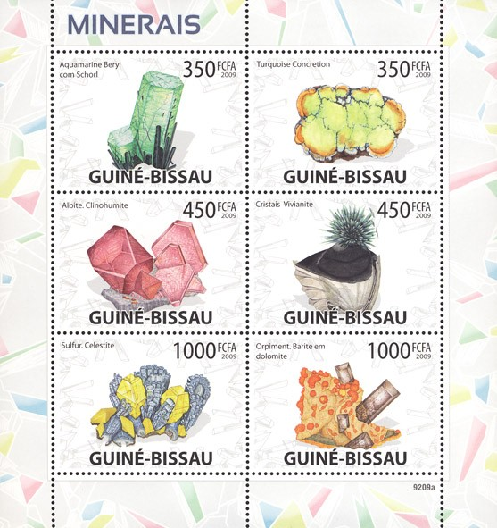 Minerals - Issue of Guinée-Bissau postage stamps