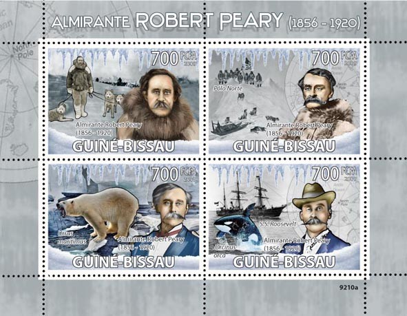 Admiral Robert Peary (1856-1920), Dogs, Sail Ship. - Issue of Guinée-Bissau postage stamps