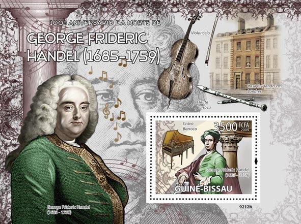G.F.Hendel (1685-1759),  music instruments - Issue of Guinée-Bissau postage stamps