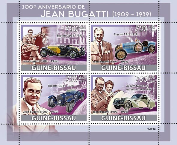 Jean Bugatti (1909-1939), Cars - Issue of Guinée-Bissau postage stamps