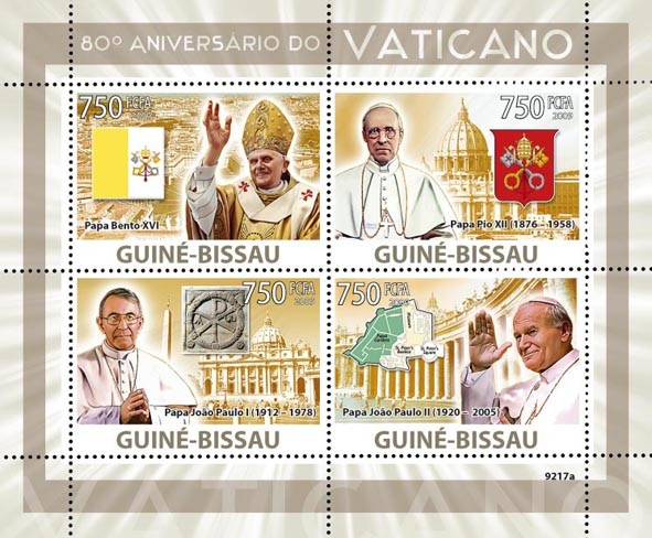 Vatican 80 (Popes) - Issue of Guinée-Bissau postage stamps