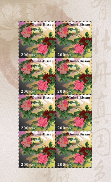 Peony Flower - Issue of Guinée-Bissau postage stamps