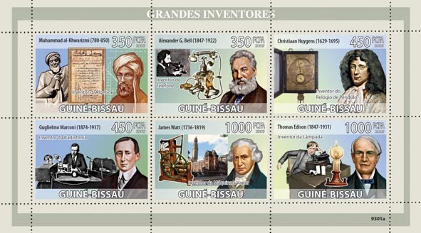 Greatest Inventors (Algebra, Telephone, Pendulum Clock, Radiotelegraph, Steam engine, Long Listing Lamp) - Issue of Guinée-Bissau postage stamps