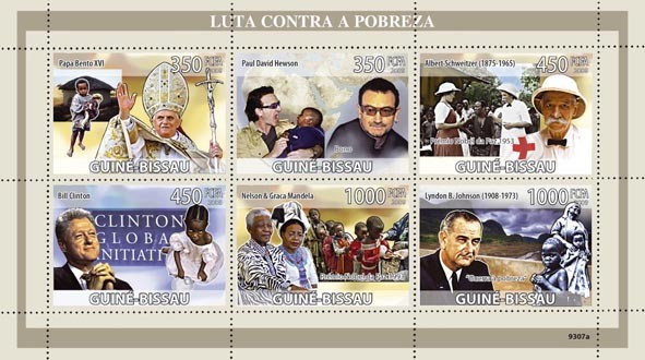 Fight Against Poverty (Pope Benedict XVI, Bono, A.Schweitzer Red Cross, B.Clinton, Nelson & Graca Mandela, L.B.Johnsin) - Issue of Guinée-Bissau postage stamps